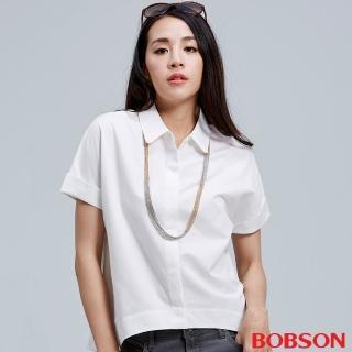 【BOBSON】女款連袖寬版襯衫(白26126-80)