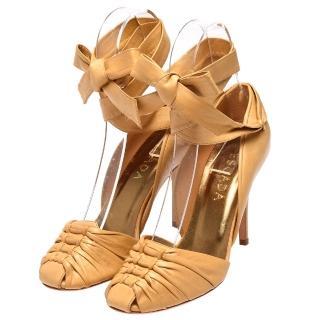【ESCADA】小羊皮編織綁帶高跟鞋(卡其色017818-9780-37)