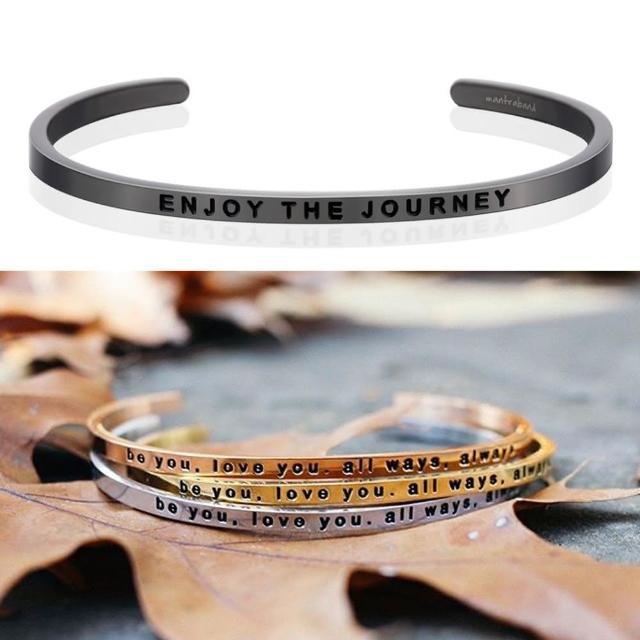 【MANTRABAND】美國悄悄話手環 Enjoy the Journey 享受人生 新款灰銀手環(悄悄話手環)