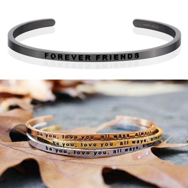 【MANTRABAND】美國悄悄話手環 FOREVER FRIENDS 一輩子的好朋友 新款灰銀手環(悄悄話手環)