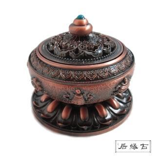 【古緣居_12H】古典八吉祥古銅色蓮花盤香爐