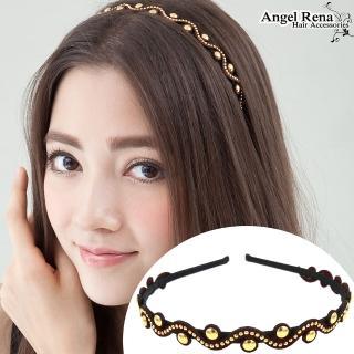 【Angel Rena】波浪麂皮亮珠髮箍(深酒紅)