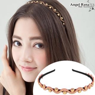 【Angel Rena】波浪麂皮亮珠髮箍(粉紅)
