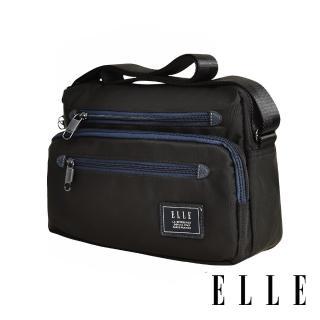 【ELLE】城市都會休旅系列 大容量多隔層機能收納7吋平板休閒橫式斜背/側背包(黑 EL83493)