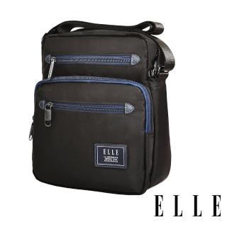【ELLE】城市都會休旅系列 大容量多隔層機能收納7吋平板休閒直式斜背/側背包(黑 EL83495)