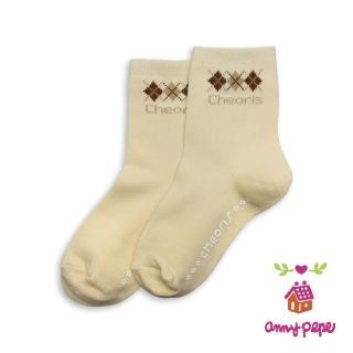 【annypepe】兒童純棉短襪-咖啡卡奇菱格款
