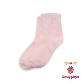 【annypepe】兒童純棉短襪-粉刺繡款