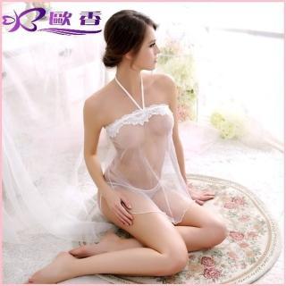 【歐香Ou Hsiang】危險誘惑 性感透明薄紗小肚兜情趣內衣-歐美性感睡衣裙C391003(婚紗白)