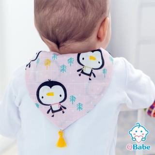 QBabe 純棉四層紗 寶寶吸汗背巾-三角流蘇款 23x32(6款)