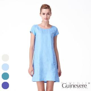 【矜蘭妃】100%法國亞麻歐風修身洋裝(2件組-背釦款)