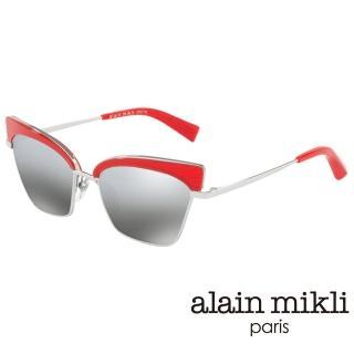 【alain mikli 法式巴黎】俐落貓眼金屬眉框造型太陽眼鏡(艷紅 AL4005-003)