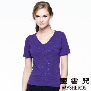 【蜜雪兒mysheros】莫代爾棉V領波浪水鑽針織上衣(紫)