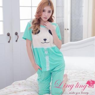 【lingling日系】PA2959全尺碼-蝴蝶結蕾絲熊貓睡臉圓點短袖二件式睡衣組(清新藍綠)