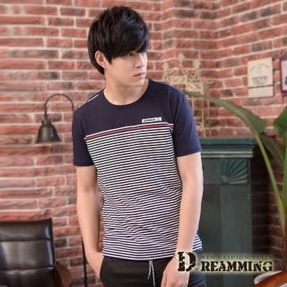【Dreamming】品味時尚細條萊卡彈力圓領短T(共二色)