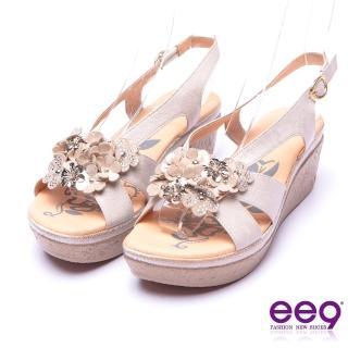 【ee9】花漾年華鑽飾造型花朵防水台楔型涼鞋 米色(楔型涼鞋)