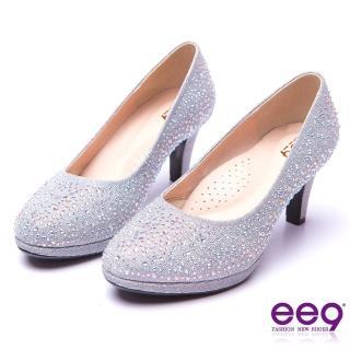 【ee9】芯滿益足-璀璨奢華名媛專屬夢幻晶鑽跟鞋*銀色(跟鞋)