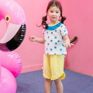 【韓國 BebeZoo】短袖上衣+五分褲 套裝2件組 - 藍黃雨滴蝸牛(BE17-SET207)