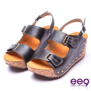 【ee9】率性風采-靚亮金屬鑲嵌金屬鉚釘軟木紋楔形跟涼鞋*黑色(楔型涼鞋)