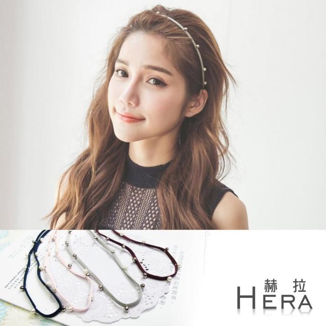 【Hera】赫拉 手工釘珠珍珠彈性頭帶/髮帶-四色