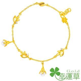 【幸運草clover gold】晨曦微露 水晶珍珠+黃金 手鍊