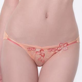 【LADY】天堂樂園系列 刺繡低腰三角褲(珊瑚橘)