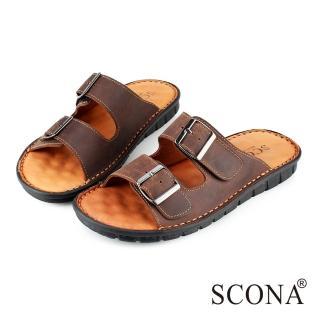 【SCONA 蘇格南】全真皮 精緻手工厚底涼拖鞋(咖啡色1735-2)
