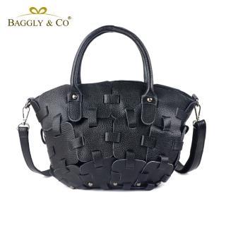 【法國BAGGLY&CO】潮流拼接真皮手提側背包-共兩色