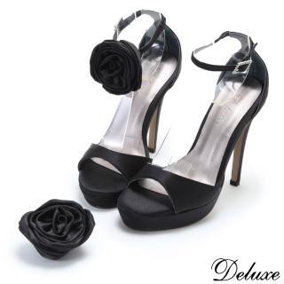 ~Deluxe~法式優雅緞面活動花型高跟鞋 黑