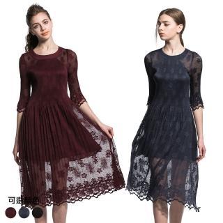 【玩美衣櫃】小花蕾絲長裙中袖壓摺洋裝(共三色)