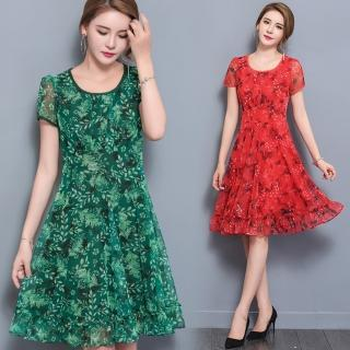 【ALICAI 艾麗彩】圓領樹葉印花荷葉裙擺收腰洋裝(中大碼/二色/L-5XL)