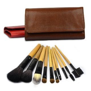 【幸福揚邑】專業彩妝羊毛木柄化妝刷具皮革化妝包10件組-巧克力色