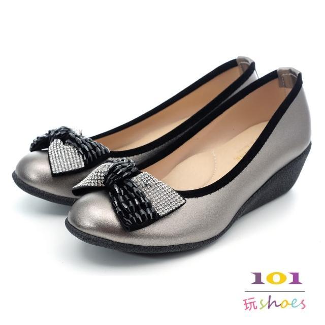 【101玩Shoes】MIT精品鞋款.亮墨雙鑽飾釦美形舒適鞋(錫色.36-40號)