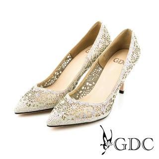 【GDC】性感水鑽簍空真皮尖頭細高跟鞋/婚鞋-粉色(714903)