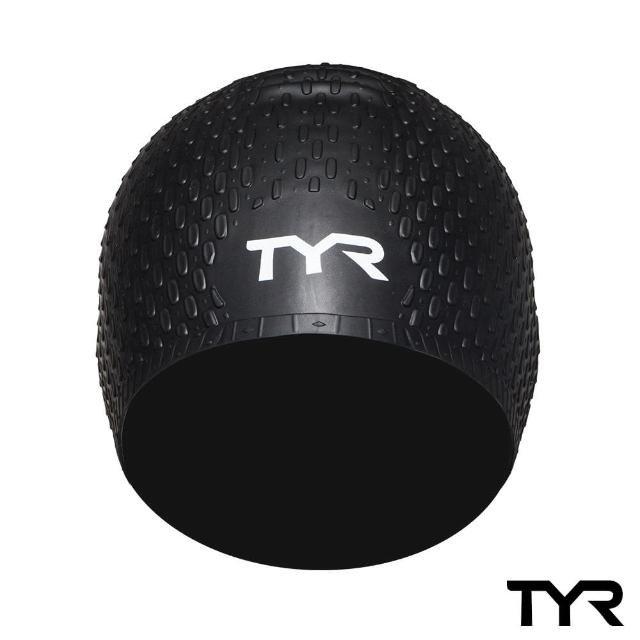 【美國TYR】Long Hair Silicone Cap Black 凸點泳帽(女用-黑)