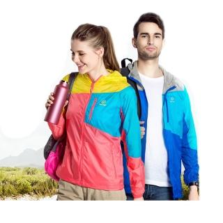 【TecTop】戶外春夏登山慢跑騎乘休閒拼接男女防風衣-輕薄-女(運動外套)
