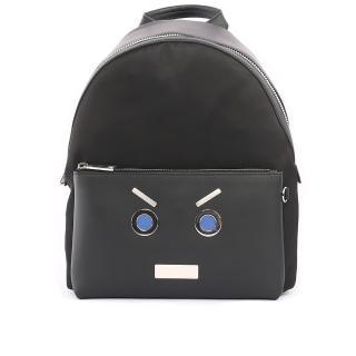 【FENDI】表情圖案皮革+尼龍bag bugs Backpack後(黑色)