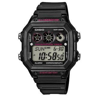 【CASIO】十年電池數位錶-黑X粉(AE-1300WH-1A2)