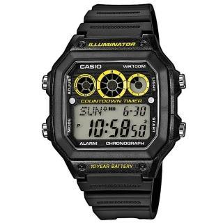 【CASIO】十年電池數位錶-黑X黃(AE-1300WH-1A)