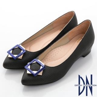 【DN】魅力心機 真皮幾何飾扣尖頭低跟鞋(黑)