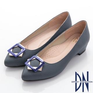 【DN】魅力心機 真皮幾何飾扣尖頭低跟鞋(藍)