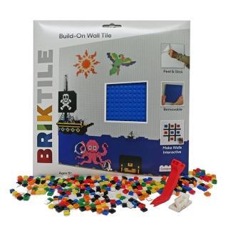 【美國BRIK】積木牆片(兩片套裝組-藍色)