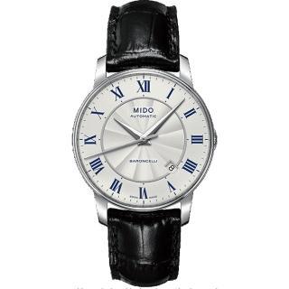 【MIDO】Baroncelli II 羅馬假期機械腕錶-銀/皮帶/38mm(M86004214)