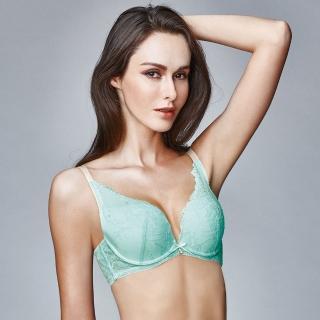 【La Felino內衣】蘇珊娜一體成形深V泡棉款B-E罩杯內衣(湖水綠)