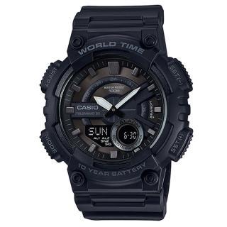 【CASIO】世界時間雙顯錶-黑X古銅刻度(AEQ-110W-1B)