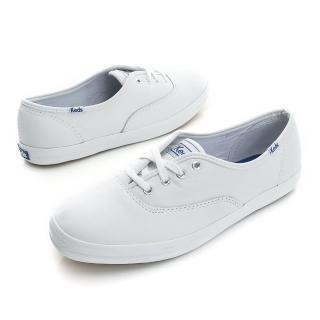 【Keds】CHAMPION 品牌經典真皮綁帶休閒小白鞋(白)