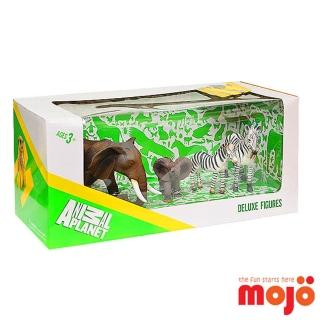 【MOJO FUN 動物模型】精裝禮盒-象與斑馬四件組(387312)
