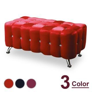 【時尚屋】水鑽4尺絨布長椅 NM7-295-2(三色可選 免組裝 免運費 椅凳)