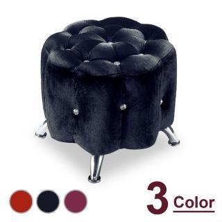 【時尚屋】梅花絨布小花椅 NM7-295-13(三色可選 免組裝 免運費 椅凳)