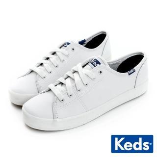 【Keds】時尚運動基本綁帶真皮休閒鞋(全白)