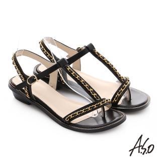 【A.S.O】嬉皮假期 金屬鍊條拼接牛皮T字涼鞋(黑)